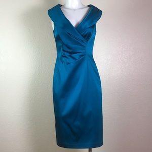 KAY UNGER BLUE SATIN COCKTAIL DRESS